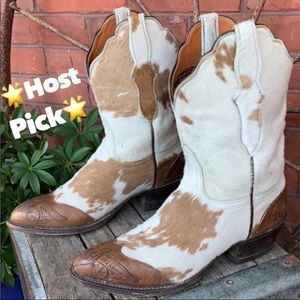 LUCCHESE Pony Cowhide Calf Hair On Western Boots 6